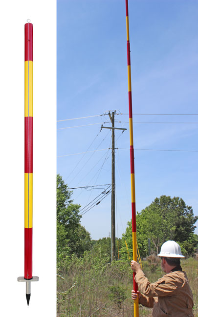 Fiberglass Electrical Poles : Blue stripe telescopic range pole utility solutions inc